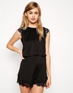 ASOS COLLECTION ASOS Scuba Romper With Double Layer And Lace Insert