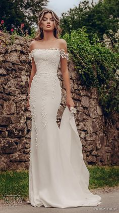 stephanie allin 2019 bridal off the shoulder straight across neckline heavily em. - - stephanie allin 2019 bridal off the shoulder straight across neckline heavily embellished bodice elegant fit and flare wedding dress mid back chapel t. Fit And Flare Wedding Dress, Dream Wedding Dresses, Simple Elegant Wedding Dress, Bride Dress Simple, Trendy Wedding, Simple Bridal Dresses, Perfect Wedding Dress, Boho Wedding, Simple White Dress