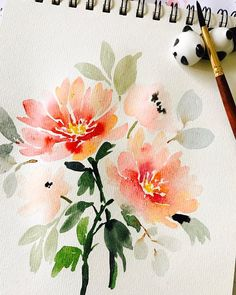 "1,988 mentions J'aime, 20 commentaires - Russet Cainglet (@thismommyiscrafty) sur Instagram : ""Peonies. Good morning! . Shinhan paints; Berkeley paper; Princeton Neptune size 6; panda penrest:…"""