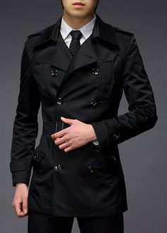 Handsome Turndown Collar Double Breasted Trench Coat Black