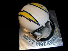 Chargers Helmet Cake-By The Mad Platters