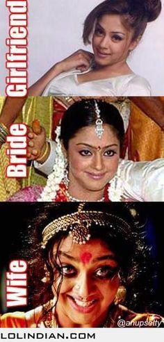 Girlfriend vs bride vs wife Desi Humor, Desi Memes, Girlfriend Videos, Indian Pictures, Just For Fun, Really Funny, Picture Video, Besties, Girlfriends