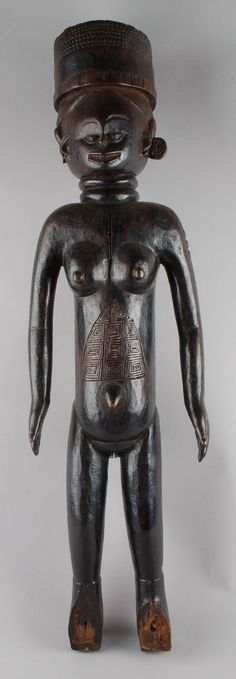 standing female figure with scarification carved on stomach and lower back, round headdress. © The Trustees of the British Museum Sierra Leone, British Museum, Objects, Carving, Gallery, Art, Art Background, Roof Rack, Wood Carvings