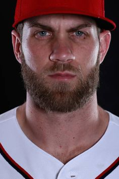 Bryce Harper of the Washington Nationals poses for a portrait during Washington Nationals Photo Day at The Ballpark of the Palm Beaches on February. Bryce Harper, Beautiful Men Faces, Washington Nationals, Philadelphia Phillies, Male Face, Bearded Men, Beards, Boxing, Athletes