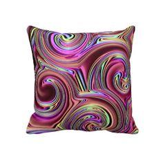 Psychedelic Spirals Art Pattern Pillow