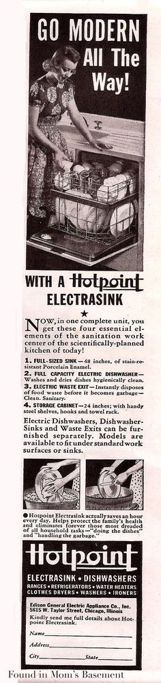 Two Hotpoint kitchen appliance ads from 1940