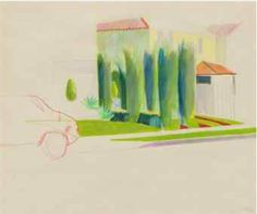 Tittle: Six Trees in a Driveway, Los Angeles signed with the artist's initials and dated 'DH Feb 1976' (lower right) Media: crayon and colored pencil on paper Size: 13 ½ x 16 in. (34.3 x 40.6 cm.) Drawn in 1976.