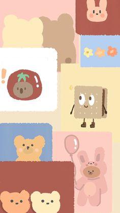 Cute Pastel Wallpaper, Cute Patterns Wallpaper, Bear Wallpaper, Kawaii Wallpaper, Painting Wallpaper, Cute Wallpaper Backgrounds, Wallpaper Iphone Cute, Aesthetic Tumblr Backgrounds, Aesthetic Pastel Wallpaper