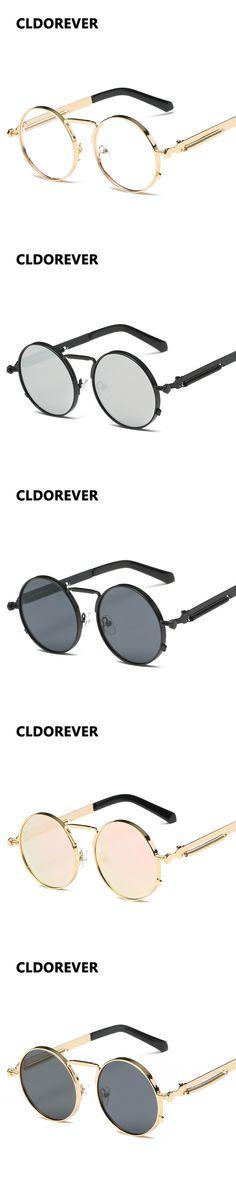 Gothic 2017 Steampunk Sunglasses Women Men Vintage Round Sun Glasses Mirror  Sunglass Steam Punk Goggles Clear Oculos Redondo 7c1cebcd60