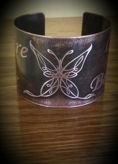 Butterfly Inspirational Words Etched Copper by GlassArtByAshley, $33.50