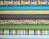 fat quarter bundle (a bunch of fun)--misc. designers--8 pieces--2 yards total. $21.00, via Etsy.