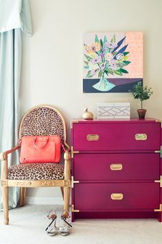 glamorous - Lulie Wallace artwork + fuchsia campaign chest + leopard Louis chair.