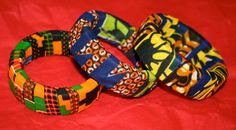 African wax fabric covered bracelets by cabcrochet on Etsy, $13.00