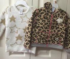 Girls Winter Outfit Toddler Size 2T Two Piece Acrylic Sweater Leopard Jacket #Wonderkids #HolidayEverydayDressy