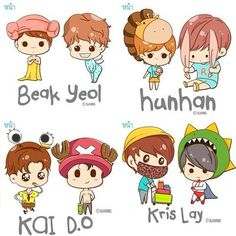 credit: to it's rightful owner, please see logo on pic (if have) Exo Ot12, Suho, Exo Cartoon, Chibi Wallpaper, Exo Couple, Baekyeol, Cute Chibi, Kpop Fanart, My King