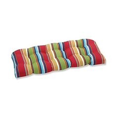 Includes one outdoor wicker loveseat cushion, resists weather and fading in sunlight; Suitable for indoor and outdoor use. At once versatile and bold, this loveseat cushion's colorful stripes beautifully tie together all color palates. Outdoor Loveseat, Outdoor Dining Chair Cushions, Patio Seating, Loveseat Sofa, Seat Cushions, Outdoor Furniture, Buy Pillows, Red Blue Green, Cushion Fabric