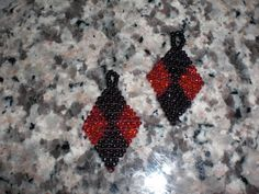 Black and Red Diamond Shaped Earrings.
