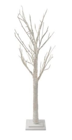 Our Lighted White Glittered Tree Has White Twig Branches