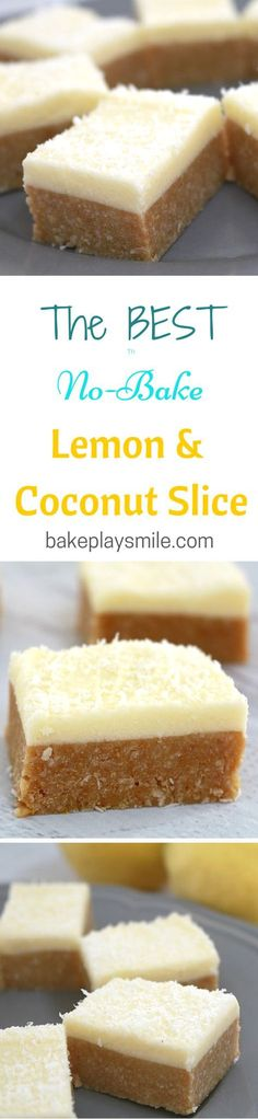 & Coconut Slice - New & Improved This is my husbands favourite recipe! I think I've made it about a zillion times now!This is my husbands favourite recipe! I think I've made it about a zillion times now! Lemon Recipes, Sweet Recipes, Baking Recipes, Cake Recipes, Dessert Recipes, Weight Watcher Desserts, Lemon Coconut Slice, No Bake Lemon Slice, Coconut Bars