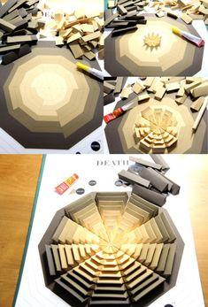 Pattern Matters: Tangible Paper Infographic showing deaths caused by HIV, malaria,suicide, alcohol road traffic this year; by Siang Ching, via Behance Cadre Design, Art Origami, Diy Cnc, Paper Folding, How To Make Paper, Paper Cutting, Diy And Crafts, Handmade, Inspiration