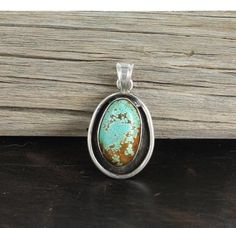 TURQUOISE STERLING PENDANT Rare #8 Mine Oval Sterling