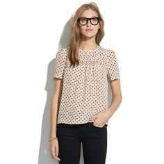 Madewell - Silk Scallop-Ruffle Tee in Dot - Wish this could just appear in my closet.