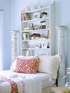 Another DIY headboard is the DIY Bookcase Headboard which is simpler and has a vintage design. There are two columns which make it look more antique or remind you of the Greek culture.