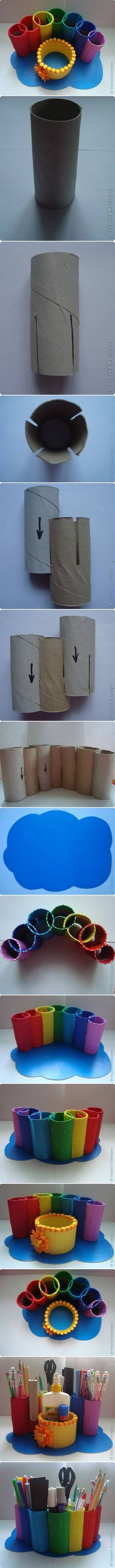 DIY Rainbow Desk Organizer from Toilet Paper Roll, Paper Roll Desk Organizer by…