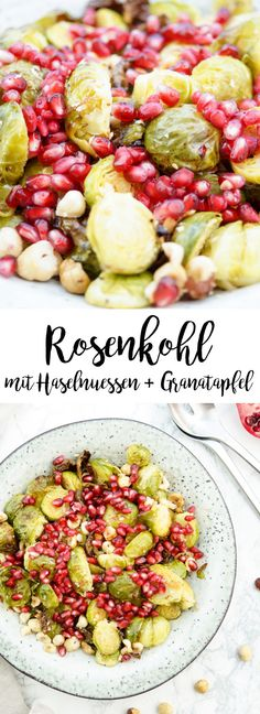 Rosenkohl mit Haselnüssen und Granatapfel ist eine gesunde Beilage für Wintergerichte. Durch das Rösten verliert der Rosenkohl den bitteren Geschmack und wird süßlich. Vegan und natürlich glutenfrei. Einfache Gesunde Rezepte - Elle Republic #beilage #rezept #winter #weihnachten #Festessen #rosenkohl #vegan #vegetarisch #granatapfel #gesund #einfach #brusselssprouts