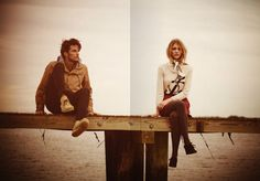 Dock Sits - Anchor sweater + tights + scarf plus hooded button-up jacket + skinnies.