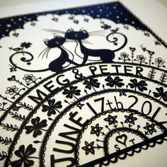 Cat Wedding papercut by VegasLammy, via Flickr