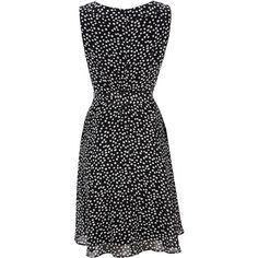 Black Spot Print Keyhole Dress, found on polyvore.com