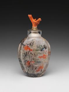 Snuff Bottle Date: 19th century Culture: China Medium: Hair crystal, coral stopper