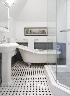 I like this take one the retro black and white tiled floor. Panelled bathroom, black and white tiled bathroom