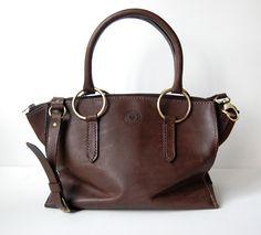 0bc407addfa4 Dark Brown Leather Satchel No. 8. Handstitched Dark Brown Leather Handbag  with antique brass