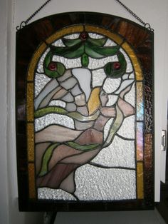 Swag Of Flowers Stained Glass Window Hanging 45 00 Folksy
