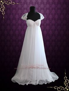 Empire Chiffon Wedding Dress with Cap Sleeves and Keyhole Back | Ieie's Bridal Wedding Dress Boutique