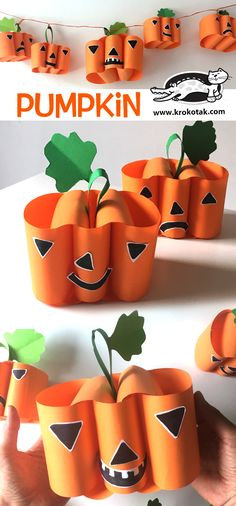 here are 30 of the BEST pumpkin Halloween crafts for kids. These fun crafts are a great way to get excited about Halloween! Crafts To Do, Fall Crafts, Holiday Crafts, Kids Crafts, Arts And Crafts, Pumpkin Crafts Kids, Bricolage Halloween, Manualidades Halloween, Scary Halloween Crafts