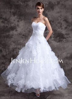 Wedding Dresses - $200.00 - A-Line/Princess Sweetheart Floor-Length Organza Satin Wedding Dresses With Lace Beadwork (002014984) http://jenjenhouse.com/A-line-Princess-Sweetheart-Floor-length-Organza-Satin-Wedding-Dresses-With-Lace-Beadwork-002014984-g14984