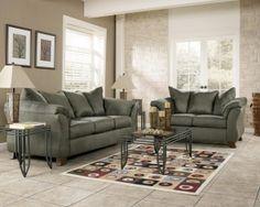 Sofa Loveseat Set Green Sage Living Room Beige Furniture