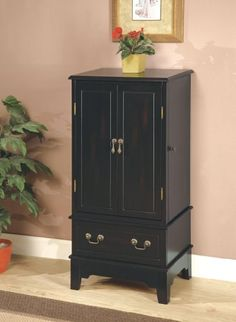 Coaster Five Drawer Jewelry Armoire in Black - List price: $499.99 Price: $200.96