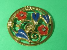 Circular Flower Wreath Red & Blue Floral Brooch Pin Vintage Stylish Elegant Ladies Jewelry by HipTrends2015 on Etsy
