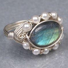 Oval Labradorite Gemstone and White Swarovski Pearls Sterling Silver Wire Wrap Ring