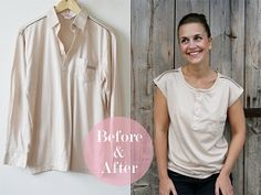Pearls & Scissors: Refashionista: How to turn a long-sleeved jersey shirt into a t-shirt- Perfect use for hubby's old shirts! Diy Clothing, Sewing Clothes, Diy Camisa, Shirt Transformation, Do It Yourself Fashion, Diy Fashion, Fashion Tips, Shirt Refashion, Sewing Tutorials
