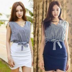 Fashion Ladies Women Casual V-neck Sleeveless Plai...