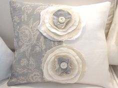 French Linen ToiLe Blue Grey and White DouBLe by Sassycatcreations