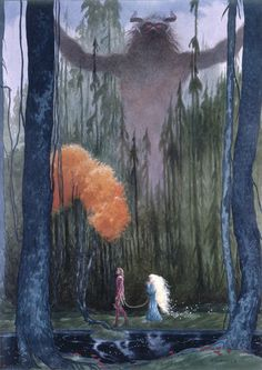 The Lord of the Forest - one print in the series of Stardust illustrations. Image size - x The print is signed by both Neil Gaiman and Charles Vess. John Bauer, Fantasy Magic, Fantasy Art, Art And Illustration, Woodland Illustration, Book Illustrations, Fairytale Art, Neil Gaiman, Dark Art