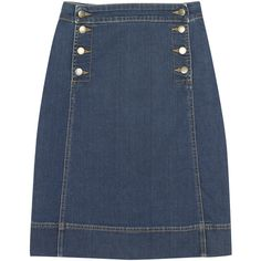 Denim Skirt ($58) found on Polyvore