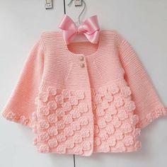 Crochet Baby Cardigan, Knit Baby Dress, Knit Baby Sweaters, Crochet Jacket, Girls Sweaters, Knitted Baby, Baby Girl Patterns, Baby Knitting Patterns, Knitting For Kids