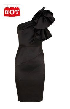 New Stunning KAREN MILLEN Signature Satin Wiggle Pencil Dress Black UK8 (6)